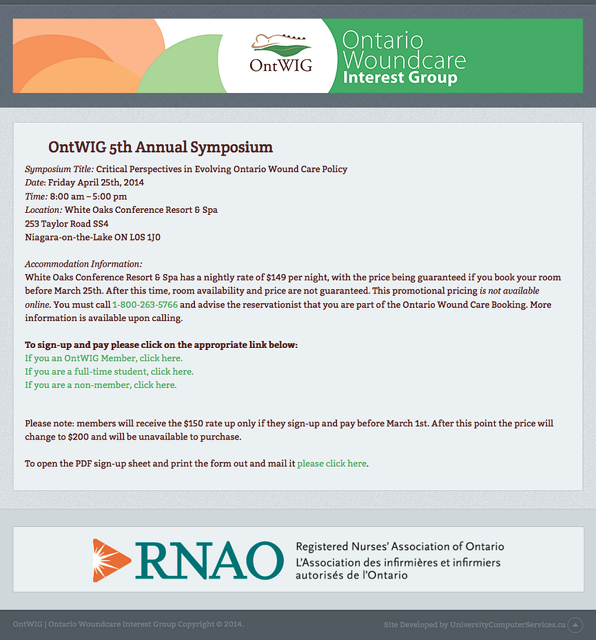 This is the home page of the OntWIG symposium payment gateway.